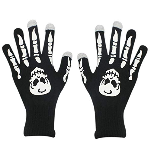 Halloween Party Skeleton Gloves Skull Fancy Costume Touchscreen Knit Golves Unisex Adult Women Men for iPhone Smart phones Laptop Tablet