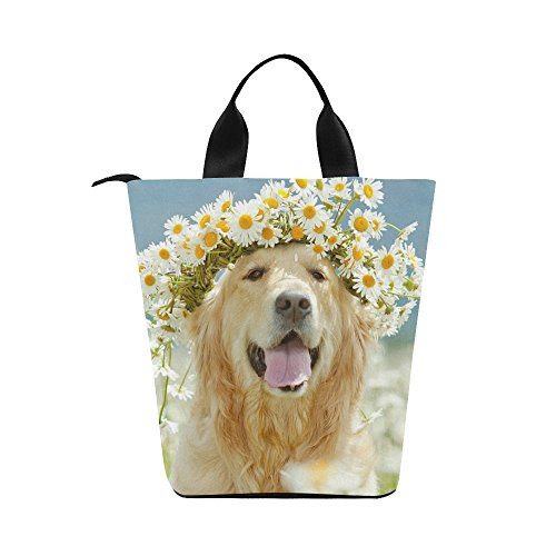 InterestPrint Golden Retriever Dog Flower Nylon Cylinder Lunch Bag Tote Shopping Handbag, Cute Animal Pet Reusable Large Lunchbox Grocery Bag