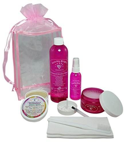 Sparkle Bright All-Natural Jewelry Cleaner - ALL-IN-ONE JEWELRY CLEANING KIT - Ultrasonics, Gold, Silver, Diamonds, Fine, Costume, Designer Jewelry