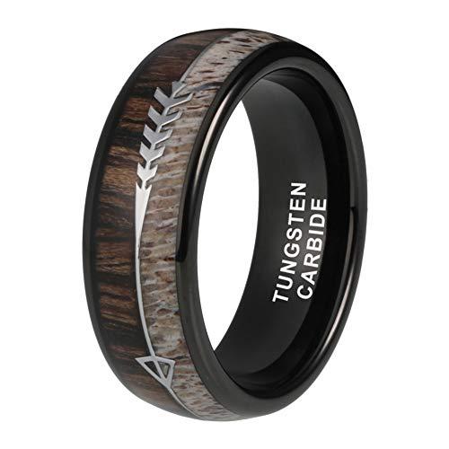 iTungsten 8mm Black Tungsten Rings for Men Women Wedding Bands Deer Antler Koa Wood Arrow Inlay Hunting Jewelry Comfort Fit
