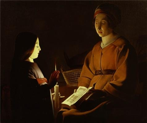 Oil painting 'Georges de La Tour (Studio of) - The Education of the Virgin, c. 1650' printing on high quality polyster Canvas , 16x19 inch / 41x49 cm ,the best Bedroom gallery art and Home artwork and Gifts is this Best Price Art Decorative Canvas Prints (1650 Laser Printer)