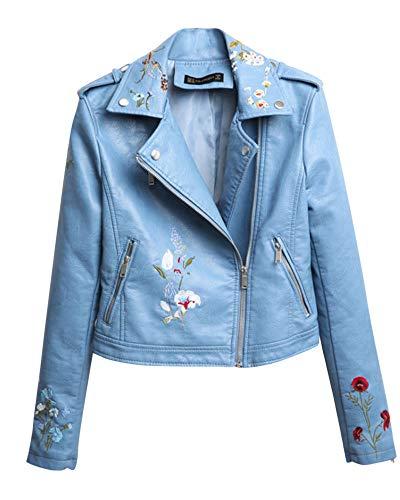 pour en moto manches vélo à de Vestes manteaux veste cuir floraux de longues brodés de bleue centrale d'unité Cihui femmes moto YHHdq7w