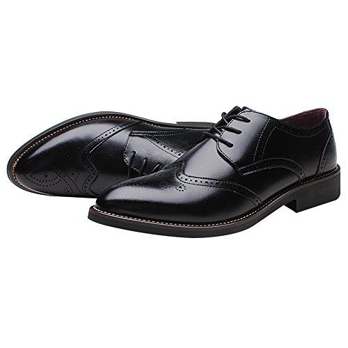 Shenn Rismart Mens Office Dress Brogue Leather Oxfords Shoes Black KYiBK7hwE