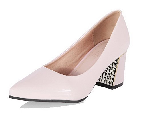 AgooLar Damen PU Rein Ziehen auf Spitz Zehe Mittler Absatz Pumps Schuhe Pink