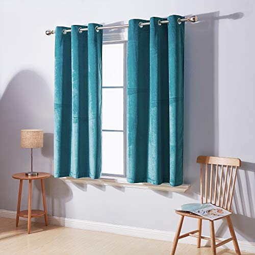 Deconovo Thermal Insulated Room Darkening Grommet Velvet Curtain for Bedroom Royal Curtain Panel for Living Room 2 Panels, Turquoise, 38 W x 45 L