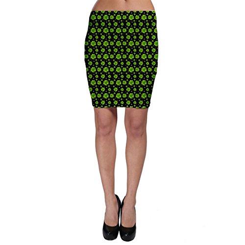 CowCow Green Shamrock Pattern Black Bodycon Skirt, Black-M -