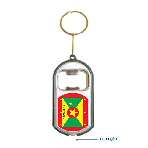 Grenada Flag 3 in 1 Bottle Opener LED Light KeyChain KeyRing (Grenada One Light)