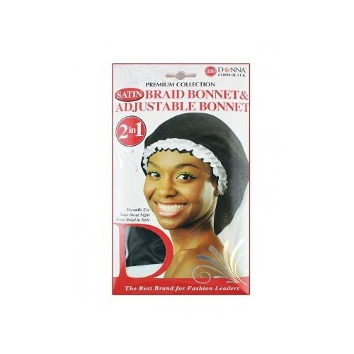 Hot Donna Premium Collection 2in1 Satin Braid Bonnet & Adjustable Bonnet - Pink, Multiple uses, stays on all night, fits all size, two tone for cheap