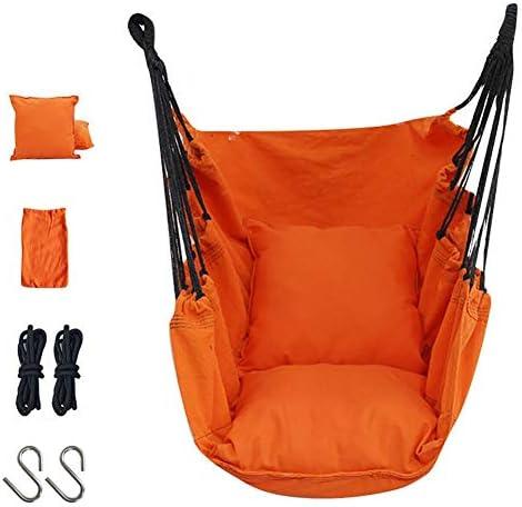 YXX-ブランコ オレンジ ハンモックチェアをぶら下げ クッション付き- ガールズスイングシート 子供の寝室と大人の寮、 負荷200kg / 440ポンド