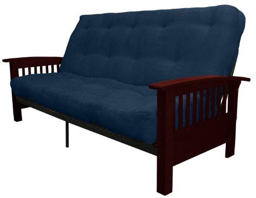 Epic Furnishings Morris Mission-Style Microfiber Suede Futon Sofa Sleeper Bed, Mahogany Frame, Queen, Dark Blue
