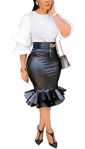 LKOUS Faux Leather Skirts for Women PU Ruffle Mermaid Ruffle Black Knee Length Black Midi Skirt Plus Size