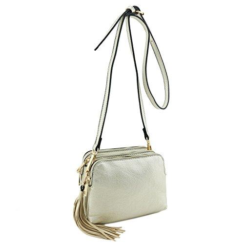Triple Compartment Mini Crossbody Bag with Tassel Light Gold