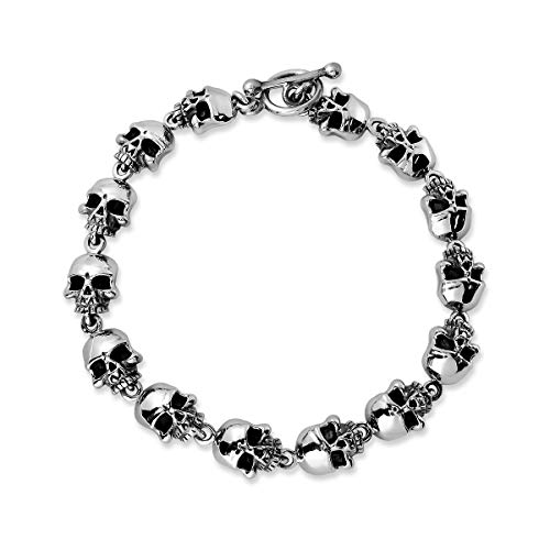 (WithLoveSilver 925 Sterling Silver Gothic Skull Head Cross Bone Toggle Clasps Bracelet, 8 Inches)