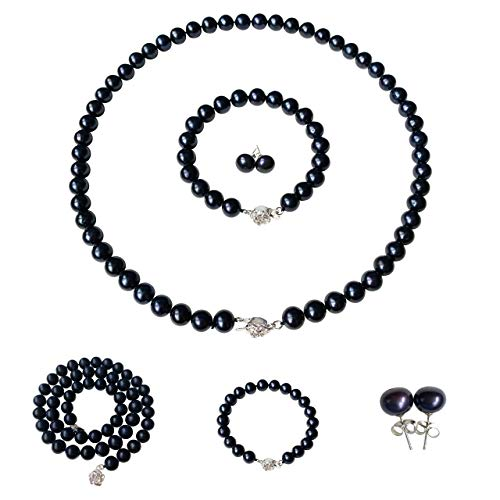 Pearl Romance Round Black Strand Pearl Necklace Bracelet Stud Earrings 3pc Set Genuine Cultured Freshwater 6mm 7mm 8mm 9mm 10mm 11mm 16 18 20 24 30 36 inch Long (24, 9.0-9.5mm)