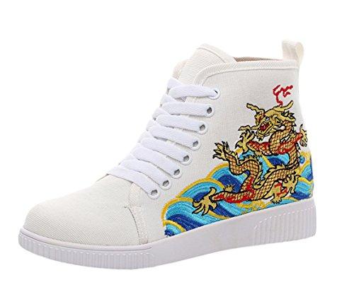 Insun Damen Turnschuh Freizeit Flats Bestickte Schuhe Espadrilles Weiß
