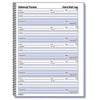 (RED51114 - Voice Mail Wirebound Log Books)