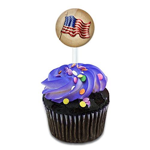 Vintage American Flag Cake Cupcake Toppers Picks Set (American Flag Cupcake Picks)