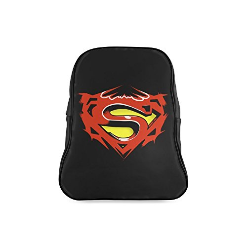 [Navarro Classic Superman Logo Children School High-grade PU Leather Backpack Bag Shoulder Bag] (Iron Fist Superhero Costumes)