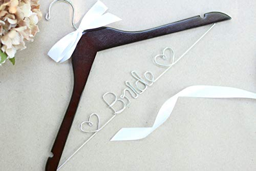 Bridal Hanger with Hearts, Wedding Hanger, Walnut -