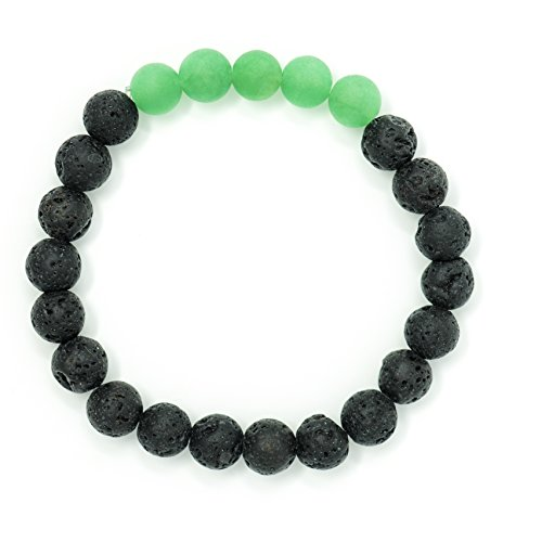 Mana Vibes Lava Rock and Matte Green Aventurine Essential Oil Diffuser Bracelet, Unisex Essential Oil Jewelry, 8mm Beads