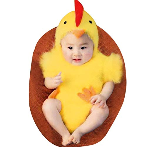 LERORO Unisex Newborn Baby Infant Costume Jumpsuit, Boys & Girls Cute Photography Chicken Costume Toddler Easter Cosplay Cloth Outfit (0-6 Months)]()