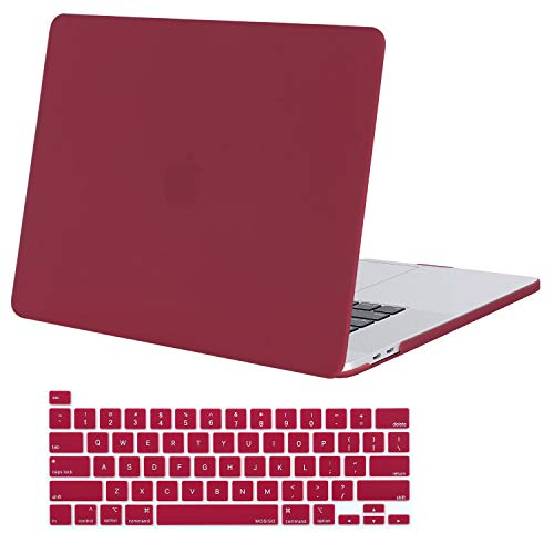 MOSISO MacBook Pro 16 inch Case 2020 2019 Release A2141, Ultra Slim Protective Plastic Hard Shell Case & Keyboard Cover Skin Compatible with MacBook Pro 16 inch with Touch Bar, Wine Red