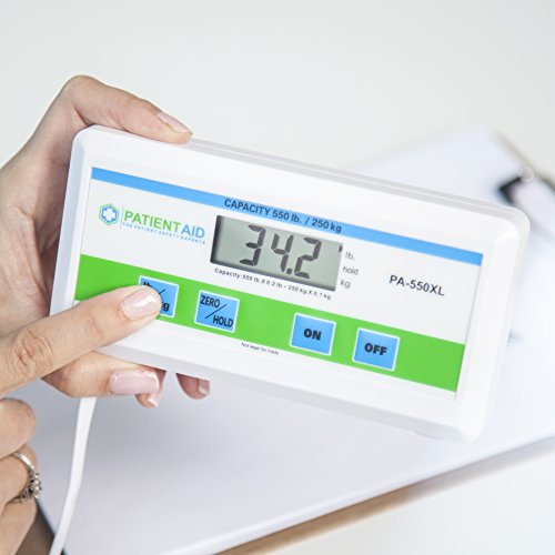 Medical Heavy Weight Floor Scale: Digital Easy Read and High Capacity Health, Fitness and Physician Portable Scale with Battery, AC Adapter & Bag - Pound and Kilogram Settings - 550 lb / 249 Kg Limit by Patient Aid (Image #7)