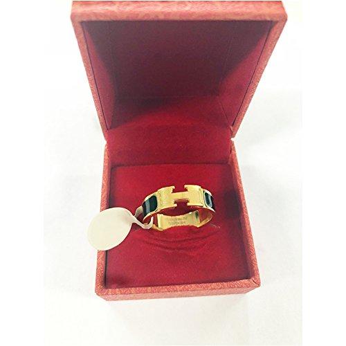 Qindishijia Love Ring - Titanium Fashion Classic Color Blocking H Ring (size: 5-10) (Gold/Black, 10) by Qindishijia (Image #4)