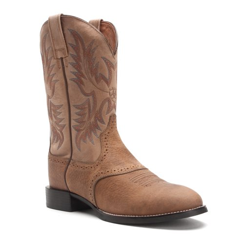 Ariat Men's Heritage Stockman Western Boot, Tumbled Brown/Beige, 8.5 E US (Boots Stockman Heritage)