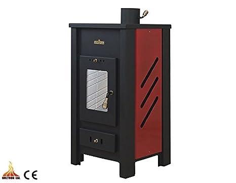 Estufa de leña con caldera calefacción Central de color ...