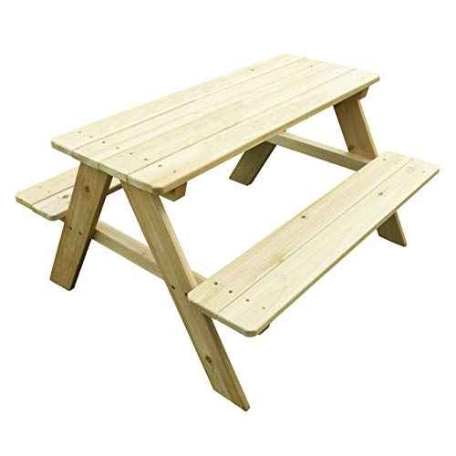 Merry Garden Kids Wooden Picnic Bench Outdoor Patio Dining Table, Natural (Renewed)