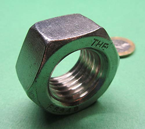18-8 Stainless Steel Hex Nut 1-8 Thread x 1-5//16 W x 31//64 H 5 Pcs
