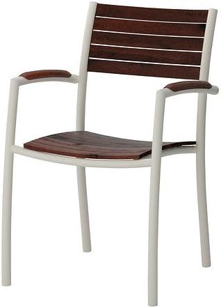 IKEA VINDALSO Chaise avec accoudoirs, extérieur, blanc