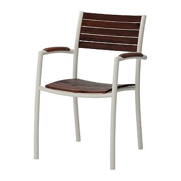 IKEA VINDALSO - Silla con brazos, al aire libre, blanco, eucalipto ...