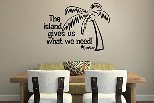 Inspired by Moana Wall Decal Sticker The Island Gives Us What We Need (Oceans Song Lyric Wall Decal)
