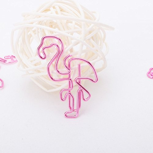 Shoppingmoon Flamingo Paper Clips Metal Card File Note Clips for Office School Wedding Decoration (Pink) Pack 12pcs