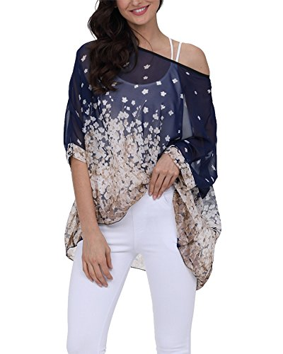 Vanbuy Women Summer Floral Printed Shirt Batwing Sleeve Top Chiffon Poncho Sheer Tunic Blouse Prime Z91-4288
