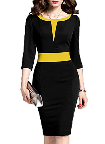 3ced151e541 WOOSEA Women s 2 3 Sleeve Colorblock Slim Bodycon Business Pencil Dress  (X-Large