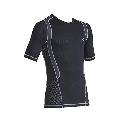 (CW-X Men's Short Sleeve Ventilator Web Top, Black/Charcoal/Silver, Medium)