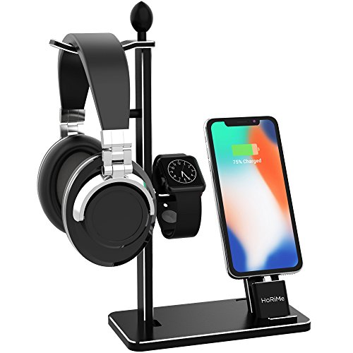 HoRiMe Charging Stand for Apple Watch/iPhone/Headphone, 3 in 1 Charging Station Aluminum Charging Dock Headphone Stand Holder for iPhone X/iPhone 8/8 Plus/7/7 Plus/6/6S Plus/Apple Watch Series 3/2/1 by HoRiMe