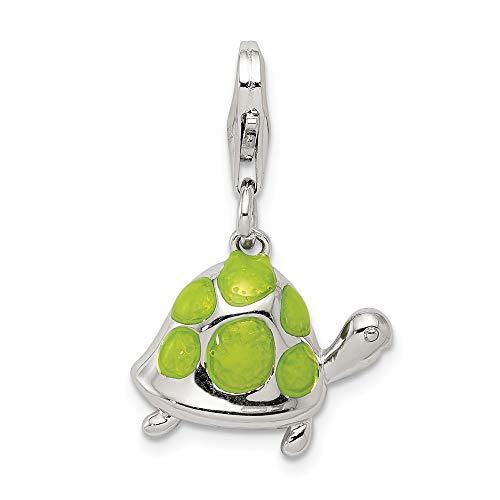 - Solid 925 Sterling Silver Pendant Green Enameled Turtle Charm (15mm x 16mm)