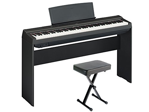 Sale!! Yamaha P125 Digital Piano Home Bundle with Furniture Stand and Bench, Black
