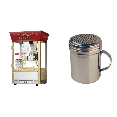 Great Northern Popcorn Red Matinee Movie Theater Style 8 oz. Ounce Antique Popcorn Machine and Winware Stainless Steel Dredges 10-Ounce with Handle Bundle by