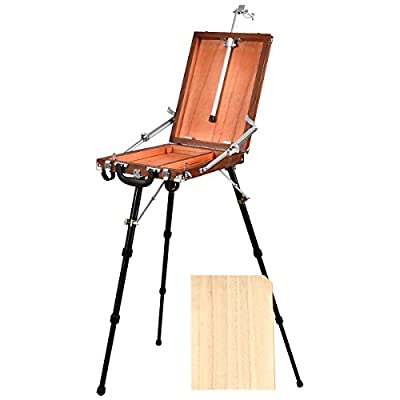 Portable Art Easel for Painting, QINUKER French Style Wooden Artist Easel & Sketchbox, Wooden Pallete and Shoulder Strap