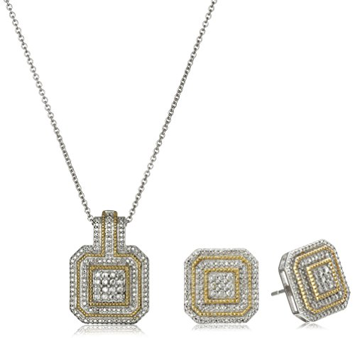Yellow Plating Over Sterling Silver with White Diamond-Accent Box Jewelry (Diamond Accent Jewelry Set)