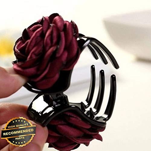 omen Chiffon Rose Flower Hair Clip Pin Barrette Hair Claw Accessories Decor | Style HRCL-M182012375 ()