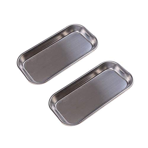 (2 Pcs Thickening Instrument Tray Medical Stainless Steel Dental Medical Tray Lab Instrument Tool Professional Surgical Trays 8.86 x 4.53 x 0.79
