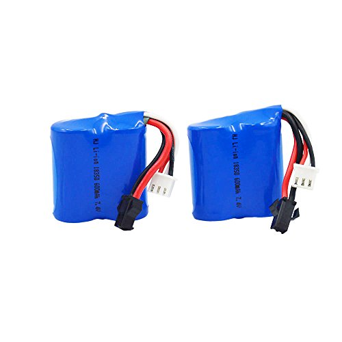 (Blomiky 2 7.4V 600mAh Lion Battery for Skytech TKKJ Blue Boat H100 H102 H106 RC Ship Boat H100 Battery 2 Pack )