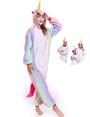 Adult Unicorn Onesies Animal Pajamas One Piece Cosplay Halloween Costume for Women Men