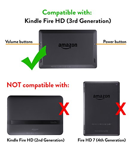 Amazon Kindle Fire HD Standing Polyurethane Origami Case (will only fit 3rd generation), Mineral Black